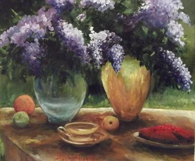 Fresh Lilacs, tea and cakes! 38x46cms