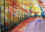 AUTUMN LANE I by Deborah McNeill, Painting, Watercolour on Paper