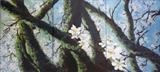 Almond Blossom Triptych by Lizzy Forrester, Painting, Oil and Acrylic on Canvas