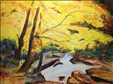 Autumn Gold by Deborah McNeill, Painting, Mixed Media
