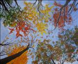 Autumn Sky #1 by Deborah Elizabeth McNeill, Painting, Oil and Acrylic on Canvas