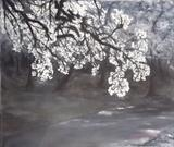 Blossom on a Thundery day by Lizzy Forrester, Painting, Acrylic and charcoal on canvas