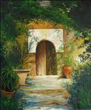 PATIO MALLORCA by Deborah Elizabeth McNeill, Painting, Oil on canvas
