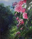 Peeping Pink Peonies by LIZZY FORRESTER, Painting, Oil on Board