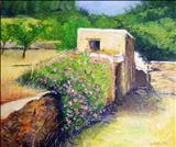 RUSTIC LANDSCAPE by Deborah Elizabeth McNeill, Painting, Oil on canvas