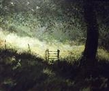 shady Meadow 37x45cms by Lizzy Forrester, Painting, Acrylic on board