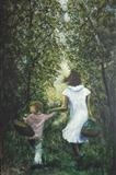 El Paseo OR  walk in the woods by Lizzy Forrester, Painting, Oil and Acrylic on Canvas