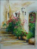 Flowers Pots and Plants at the Front door by Deborah Elizabeth McNeill, Painting, Acrylic on canvas
