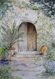 Old wooden door by Lizzy Forrester, Painting, Watercolour and pencil