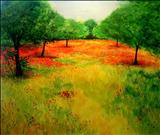 Poppies in the Almond Grove by Deborah Elizabeth McNeill, Painting, Acrylic on paper
