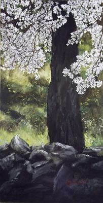Almond Tree in Blossom by LIZZY FORRESTER, Painting, Oil and Acrylic on Canvas