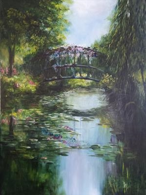 Bridge at Giverny by LIZZY FORRESTER, Painting, Oil and Acrylic on Canvas