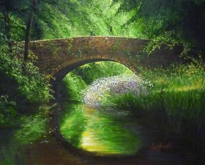 Bridge where 2 souls meet by Lizzy Forrester, Painting, Oil and Acrylic on Canvas