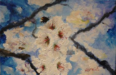 Busy Bumble Bee and Blossom by Lizzy Forrester, Painting, Acrylic on canvas