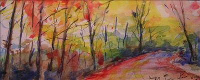 Camino Otoñal, Autumn Lane by Deborah Elizabeth McNeill, Painting, Watercolour on Paper