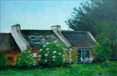 Chez Fofo, Aug 08 by Deborah Elizabeth McNeill, Painting, Oil on Board