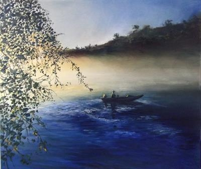 Dawn on the Lake by LIZZY FORRESTER, Painting, Oil on canvas