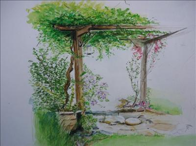 Father's Pergola by Deborah Elizabeth McNeill, Painting, Watercolour on Paper