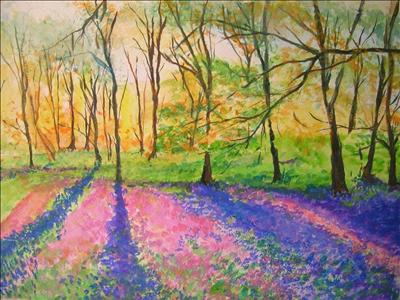 Field of Bluebells by Deborah McNeill, Painting, Mixed Media on paper