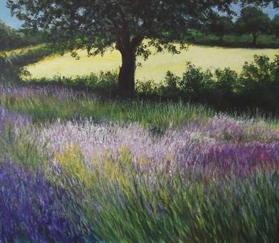 Fields of Lavander by Lizzy Forrester, Painting, Oil and Acrylic on Canvas
