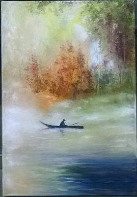 Fisherman on the lake by LIZZY FORRESTER, Painting, Oil and Acrylic on Canvas