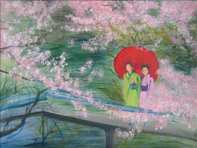 Geishas and Cherry Blossom by Deborah McNeill, Painting, Mixed Media on paper