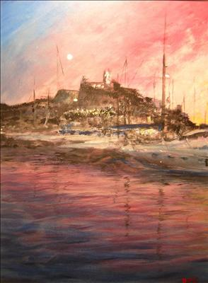 Ibiza Old Town by Deborah McNeill, Painting, Acrylic on board