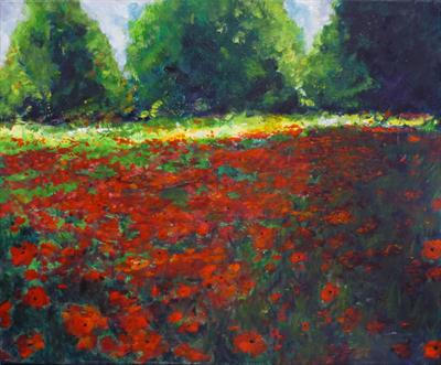 Impressionist Poppy Field by Lizzy Forrester, Painting, Acrylic on canvas