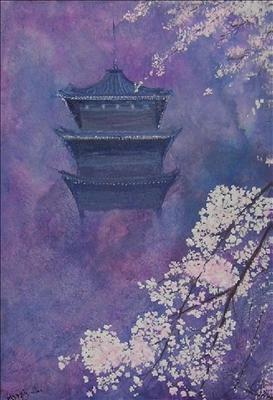 Japanese  Spring Scene by Deborah  McNeill, Painting, Acrylic on canvas