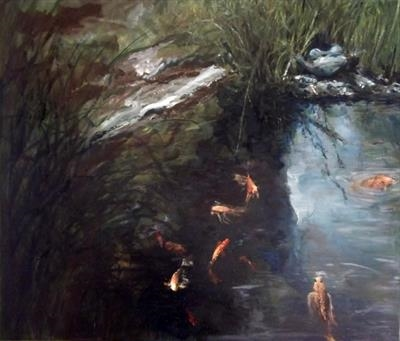 Koi and 3 legged Stone Frog by Lizzy Forrester, Painting, Oil and Acrylic on Canvas