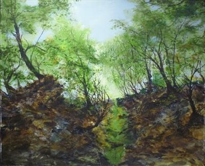 Leafy Gorge by Lizzy Forrester, Painting, Acrylic and charcoal on canvas
