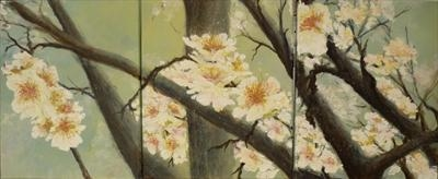 MistyMorningBlossom Triptych by Lizzy Forrester, Painting, Oil and Acrylic on Canvas