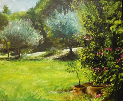My Love of Trees III: or two young Olive Trees by Lizzy Forrester, Painting, Oil and Acrylic on Canvas