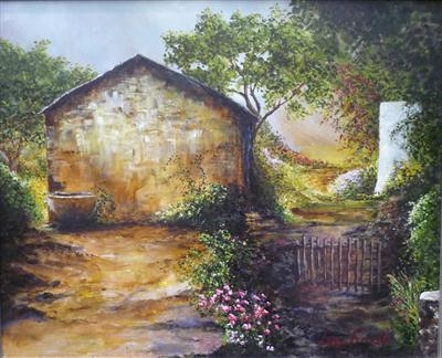 Old Barn and Finca, Ibiza by Lizzy Forrester, Painting, Acrylic and charcoal on canvas