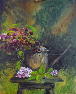 Old Watering Can by Lizzy Forrester, Painting, Oil and Acrylic on Canvas