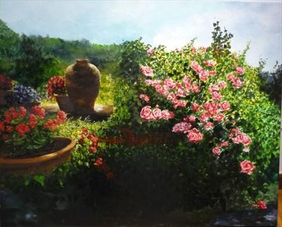Pots and plants in the Rose Garden by Lizzy Forrester, Painting, Oil and Acrylic on Canvas