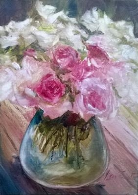 Real flowers for Jacky by LIZZY FORRESTER, Painting, Oil on Board