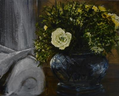 Rose Bowl by Lizzy Forrester, Painting, Oil and Acrylic on Canvas