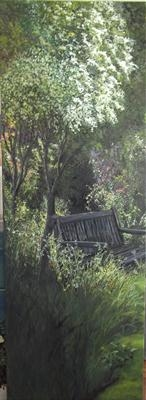 Shady corner..... by Lizzy Forrester, Painting, Oil and Acrylic on Canvas