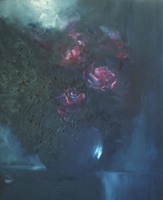 Silent Heart, Rhapsody in Blue by LIZZY FORRESTER, Painting, Oil and Acrylic on Canvas