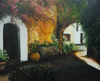 Spanish Patio by Lizzy Forrester, Painting, Oil and Acrylic on Canvas
