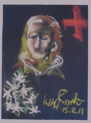 Spirit Art Link with Daisy by Lizzy Forrester, Painting, Pastel on Paper