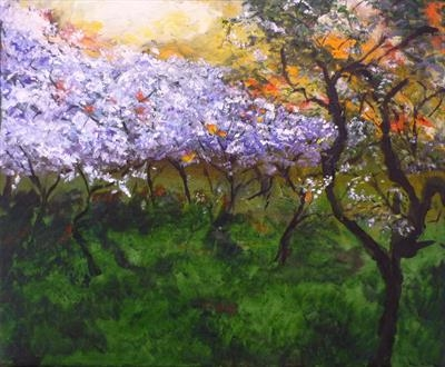Sunset over the Orchard by Lizzy Forrester, Painting, Acrylic on canvas