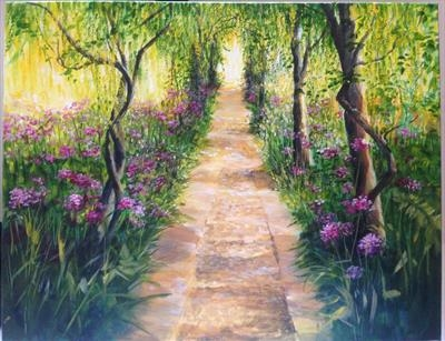 Under the Laburnums, Barnsley House by LIZZY FORRESTER, Painting, Oil and Acrylic on Canvas