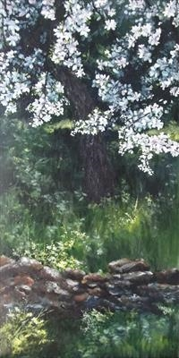 Under the Shade of the Almond Blossom.. by LIZZY FORRESTER, Painting, Oil on canvas