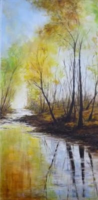 WARM AUTUMN COLOURS, COLD MORNING CHILL by Lizzy Forrester, Painting, Acrylic on canvas