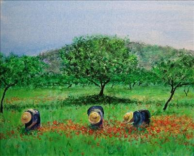 """Working in the fields"" or ""Payesas"" by Deborah McNeill, Painting, Acrylic on board"