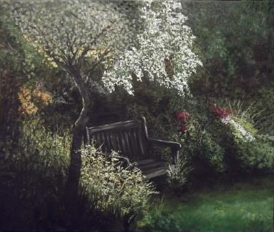 shady corner by Lizzy Forrester, Painting, Oil and Acrylic on Canvas