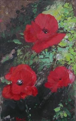 3 Poppies by Deborah McNeill, Painting, Acrylic on paper