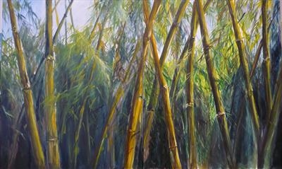 Bambu Diptych by Lizzy Forrester, Painting, Oil and Acrylic on Canvas